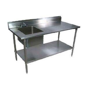 "John Boos ""John Boos EPT6R5-3072SSK-L 72"""" Prep Table w/ Left-Side Sink & Deck Mount Faucet, Stainless Undershelf"""