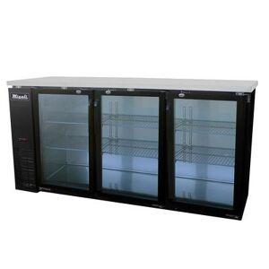 "Migali ""Migali C-BB72G-HC 72 4/5"""" Bar Refrigerator - 3 Swinging Glass Doors, 115v"""