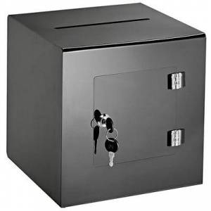 "Alpine Industries 637-02-3-BLK Ballot/Donation Box w/ 5 1/2"""" Slot - 10""""W x 10""""D x 10""""H, Acrylic, Black"""