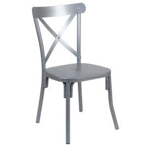 Flash Furniture XU-DG-60699-S-D-GG Dining Chair w/ Cross Back - Steel, Silver