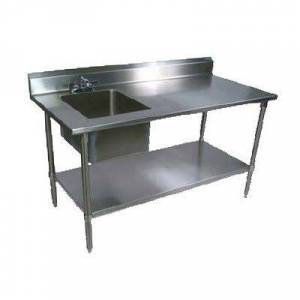 "John Boos ""John Boos EPT6R5-3060SSK-L 60"""" Prep Table w/ Left-Side Sink & Deck Mount Faucet, Stainless Undershelf"""