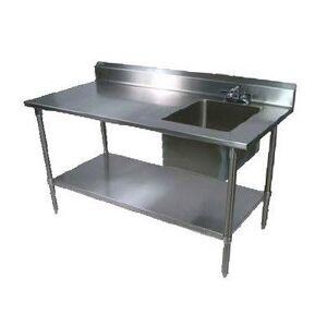 "John Boos ""John Boos EPT6R5-3072SSK-R 72"""" Prep Table w/ Right-Side Sink & Deck Mount Faucet, Stainless Undershelf"""