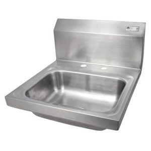 "John Boos ""John Boos PBHS-W-1410-2DM Wall Mount Commercial Hand Sink w/ 14""""L x 10""""W x 5""""D Bowl, Basket Drain"""