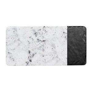 "Elite Global Solutions ""Elite Global Solutions M714RCSM-BH Rectangular Horizon Slate Serving Board - 14 1/4"""" x 7"""", Melamine, Black Slate/Faux Horizon Marble"""