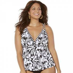 Swimsuits For All Plus Size Women's Loop Strap Tankini Top by Swimsuits For All in Black Cream Flower (Size 20)