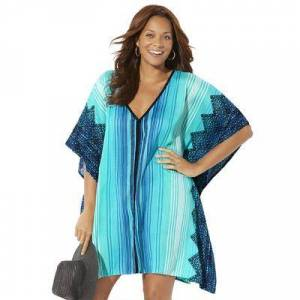 Swimsuits For All Plus Size Women's Kelsea Cover Up Tunic by Swimsuits For All in Blue Aztec Stripe (Size 10/12)