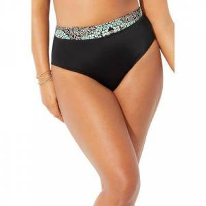Swimsuits For All Plus Size Women's High Waist Bikini Bottom by Swimsuits For All in Mint Medallion (Size 16)