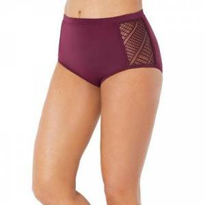 Swimsuits For All Plus Size Women's Charlatan Crochet Bikini Bottom by Swimsuits For All in Wine (Size 4)
