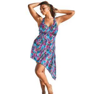 Swim 365 Plus Size Women's Multi-Style Convertible Swim Dress by Swim 365 in Aqua Leopard Tropical (Size 20)