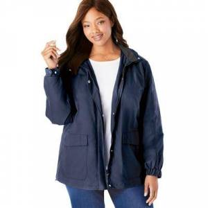 Woman Within Plus Size Women's Fleece-Lined Taslon Jacket by Woman Within in Navy (Size 18/20)