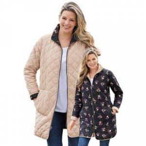 Woman Within Plus Size Women's Reversible Quilted Barn Jacket by Woman Within in New Khaki Black Prairie Floral (Size 18/20)