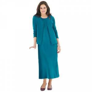 Woman Within Plus Size Women's Lettuce Trim Knit Jacket Dress by Woman Within in Deep Teal (Size 18/20)