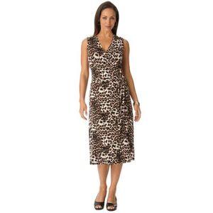 Jessica London Plus Size Women's Sleeveless Wrap Dress by Jessica London in Natural Animal Print (Size 20 W)