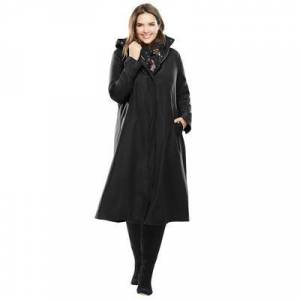 Woman Within Plus Size Women's Water repellent long raincoat by Woman Within in Black (Size 20 W)