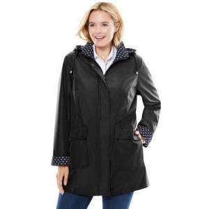 Woman Within Plus Size Women's Raincoat in new short length with fun dot trim by Woman Within in Black (Size 20 W)