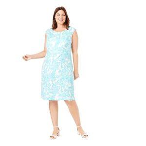 Jessica London Plus Size Women's Linen Sheath Dress by Jessica London in Aqua Floral Ikat (Size 20)