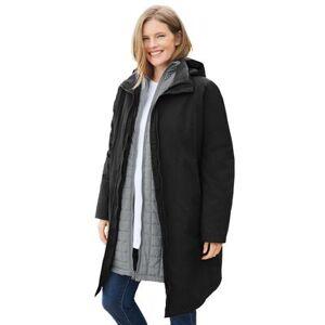 Woman Within Plus Size Women's 3-in-1 Hooded Taslon Jacket by Woman Within in Black Gunmetal (Size 18/20)