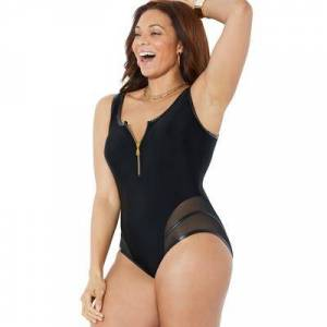 Swimsuits For All Plus Size Women's GabiFresh Cup Sized Zip Front One Piece Swimsuit by Swimsuits For All in Black (Size 20 E/F)