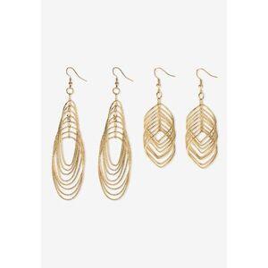 PalmBeach Jewelry Plus Size Women's Goldtone Diamond Cut 2 Piece Set Drop Earrings (72x24mm) by PalmBeach Jewelry in Gold
