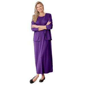 Woman Within Plus Size Women's Lettuce Trim Knit Jacket Dress by Woman Within in Radiant Purple (Size 18/20)