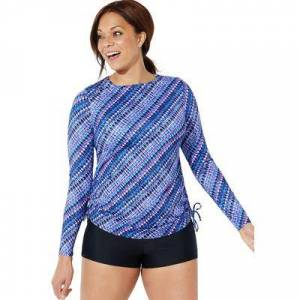 Swimsuits For All Plus Size Women's Side-Tie Adjustable Long Sleeve Swim Tee by Swimsuits For All in Purple Tie Dye (Size 20)