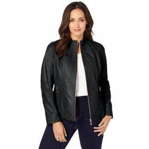 Jessica London Plus Size Women's Zip Front Leather Jacket by Jessica London in Black (Size 20 W)