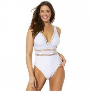 Swimsuits For All Plus Size Women's Lattice Plunge One Piece Swimsuit by Swimsuits For All in White (Size 20)