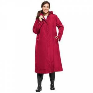 Woman Within Plus Size Women's Water repellent long raincoat by Woman Within in Classic Red (Size 20 W)