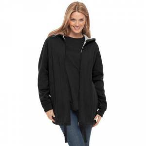 Woman Within Plus Size Women's Thermal Lined Fleece Hoodie by Woman Within in Black (Size 18/20)
