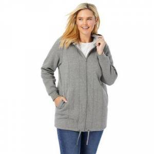 Woman Within Plus Size Women's Thermal Lined Fleece Hoodie by Woman Within in Medium Heather Grey (Size 18/20)