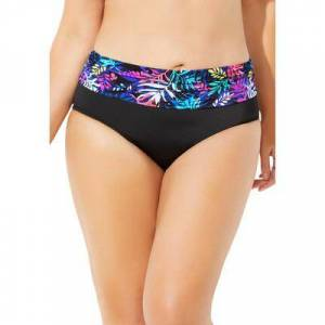 Swimsuits For All Plus Size Women's Foldover Swim Brief by Swimsuits For All in Bright Palm (Size 20)
