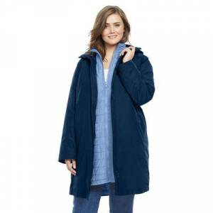 Woman Within Plus Size Women's 3-in-1 Hooded Taslon Jacket by Woman Within in Navy French Blue (Size 18/20)