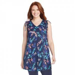 Woman Within Plus Size Women's Ruched-Shoulder V-Neck Tunic Tank by Woman Within in Navy Delicate Vine (Size 18/20)