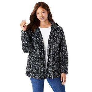 Woman Within Plus Size Women's Fleece-Lined Taslon Jacket by Woman Within in Black Floral Garden (Size 18/20)
