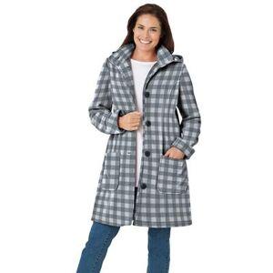 Woman Within Plus Size Women's Hooded A-Line Fleece Coat by Woman Within in Gunmetal Buffalo Plaid (Size 20 W)