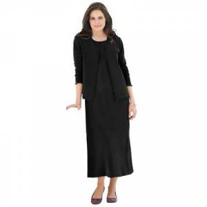 Woman Within Plus Size Women's Lettuce Trim Knit Jacket Dress by Woman Within in Black (Size 18/20)
