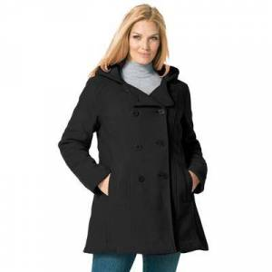 Woman Within Plus Size Women's Double-Breasted Hooded Fleece Peacoat by Woman Within in Black (Size 20 W)