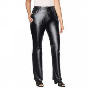 Jessica London Plus Size Women's Straight Leg Leather Pants by Jessica London in Black (Size 20)