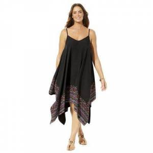 Swimsuits For All Plus Size Women's Diane Handkerchief Cover Up Dress by Swimsuits For All in Black Multi Border (Size 18/20)