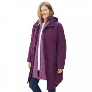 Woman Within Plus Size Women's 3-in-1 Hooded Taslon Jacket by Woman Within in Dark Berry Berry Mist (Size 18/20)