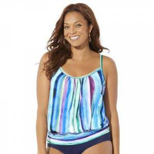 Swimsuits For All Plus Size Women's Lightweight Blouson Tankini Top by Swimsuits For All in Pastel Stripe (Size 20)