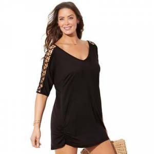 Swimsuits For All Plus Size Women's Kinsley Cut Out Cover Up Tunic by Swimsuits For All in Black (Size 18/20)