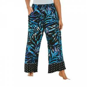 Swim 365 Plus Size Women's Wide-Leg Pant Swim Cover-Up Pant by Swim 365 in Blue Painterly Leaves (Size 20)