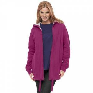 Woman Within Plus Size Women's Thermal Lined Fleece Hoodie by Woman Within in Raspberry (Size 18/20)