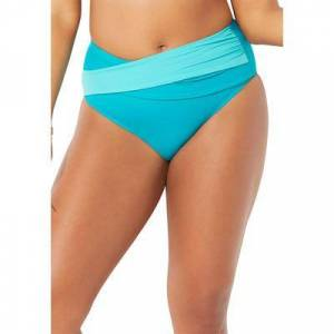 Swimsuits For All Plus Size Women's Hollywood Colorblock Wrap Bikini Bottom by Swimsuits For All in Happy Turq Luxe (Size 10)