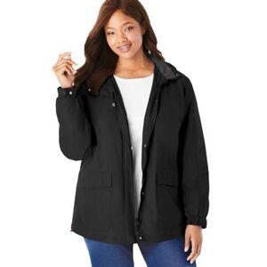 Woman Within Plus Size Women's Fleece-Lined Taslon Jacket by Woman Within in Black (Size 18/20)