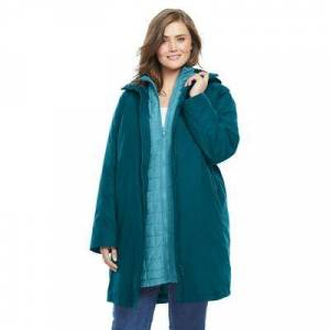 Woman Within Plus Size Women's 3-in-1 Hooded Taslon Jacket by Woman Within in Deep Teal Soft Aqua (Size 18/20)