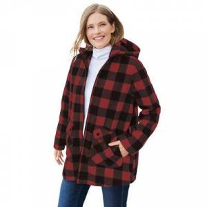 Woman Within Plus Size Women's Hooded Fleece Coat by Woman Within in Classic Red Buffalo Plaid (Size 18/20)