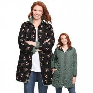 Woman Within Plus Size Women's Reversible Quilted Barn Jacket by Woman Within in Pine Black Prairie Floral (Size 18/20)