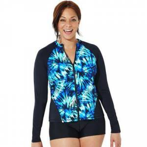 Swimsuits For All Plus Size Women's Chlorine Resistant Zip Front Long Sleeve Swim Shirt by Swimsuits For All in Tie Dye Twist (Size 20)